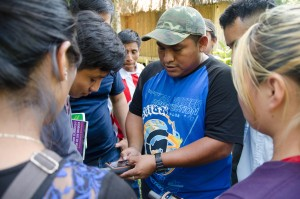 Manuel Arana explains forest monitoring technology to students. Photo credit: Carlos Herrera