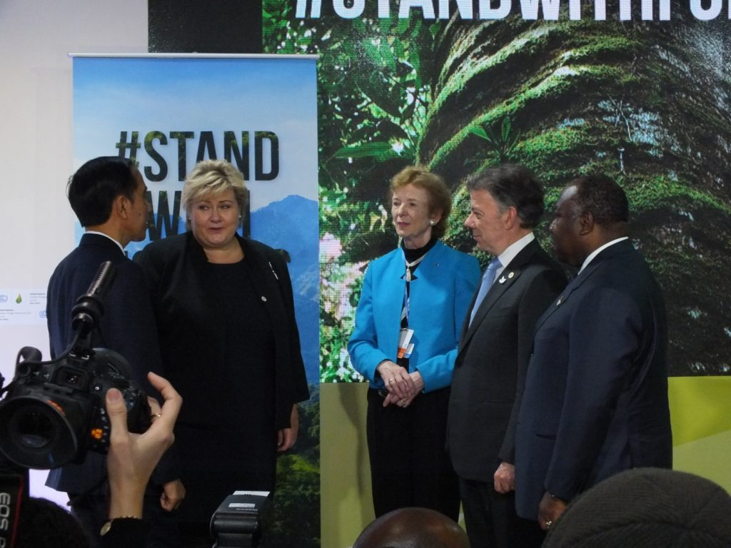 From left are Indonesian president Joko Widodo, Norway's prime minister Erna Solbergof, UN special envoy on climate change and former Irish president Mary Robinson, Colombian president Juan Manuel Santos, and Gabonese president Ali Bongo.