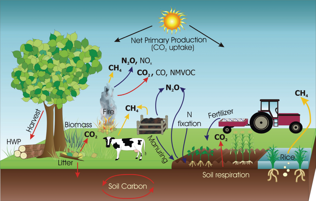 Farming emissions come from a variety of sources that differ depending on the type of farm. Image credit: IPCC